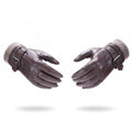 Allfond men winter waterproof cold-proof warm genuine goatskin leather hasp wool gloves M - Coffee