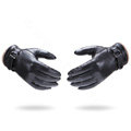 Allfond men winter waterproof cold-proof warm wool hasp genuine goatskin leather gloves M - Black