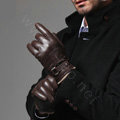Allfond men winter waterproof cold-proof warm wool hasp genuine goatskin leather gloves M - Coffee