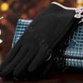 Allfond women touch screen gloves stretch cotton bow-knot winter warm solid color gloves - Black