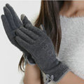 Allfond women touch screen gloves stretch cotton bow-knot winter warm solid color gloves - Gray