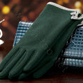 Allfond women touch screen gloves stretch cotton bow-knot winter warm solid color gloves - Green