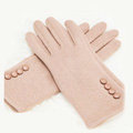 Allfond women touch screen gloves stretch cotton button winter warm solid color gloves - Beige