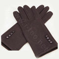 Allfond women touch screen gloves stretch cotton button winter warm solid color gloves - Coffee