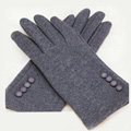 Allfond women touch screen gloves stretch cotton button winter warm solid color gloves - Gray