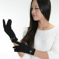 Allfond women touch screen gloves stretch cotton winter warm business casual crystal gloves - Black