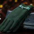 Allfond women touch screen gloves stretch cotton winter warm business casual crystal gloves - Green