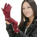 Allfond women touch screen gloves stretch cotton winter warm business casual crystal gloves - Rose