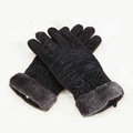Allfond women winter cold-proof plus velvet warm genuine pigskin clipping leather gloves - Black