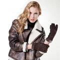 Allfond women winter cold-proof plus velvet warm genuine pigskin clipping leather gloves - Coffee