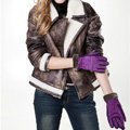 Allfond women winter cold-proof plus velvet warm genuine pigskin clipping leather gloves - Purple