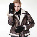 Allfond women winter cold-proof plus velvet warm grid genuine pigskin leather gloves - Black