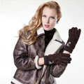 Allfond women winter cold-proof plus velvet warm grid genuine pigskin leather gloves - Coffee