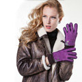 Allfond women winter cold-proof plus velvet warm grid genuine pigskin leather gloves - Purple