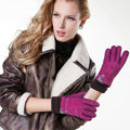 Allfond women winter cold-proof plus velvet warm grid genuine pigskin leather gloves - Rose
