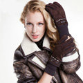 Allfond women winter cold-proof plus velvet warm hasp genuine pigskin leather gloves - Coffee