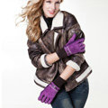 Allfond women winter cold-proof plus velvet warm hasp genuine pigskin leather gloves - Purple