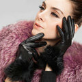 Allfond women winter warm waterproof cold-proof rex rabbit fur genuine goatskin leather gloves M - Black