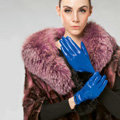 Allfond women winter warm waterproof cold-proof rex rabbit fur genuine goatskin leather gloves M - Blue