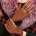Allfond women winter warm waterproof cold-proof rex rabbit fur genuine goatskin leather gloves M - Brown