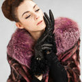 Allfond women winter warm waterproof cold-proof wool genuine goatskin leather gloves M - Black