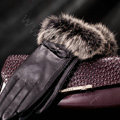 Allfond women winter waterproof cold-proof bow-knot rex rabbit fur genuine goatskin leather gloves L - Black