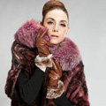 Allfond women winter waterproof cold-proof bow-knot rex rabbit fur genuine goatskin leather gloves M - Brown