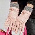 Allfond women winter waterproof cold-proof bow-knot wool genuine goatskin leather gloves L - Pink