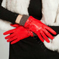 Allfond women winter waterproof cold-proof bow-knot wool genuine goatskin leather gloves L - Red