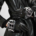Allfond women winter waterproof cold-proof leopard rex rabbit fur genuine goatskin leather gloves L - Black