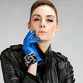 Allfond women winter waterproof cold-proof leopard rex rabbit fur genuine goatskin leather gloves L - Blue