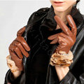 Allfond women winter waterproof cold-proof leopard rex rabbit fur genuine goatskin leather gloves M - Brown