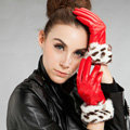 Allfond women winter waterproof cold-proof leopard rex rabbit fur genuine goatskin leather gloves M - Red