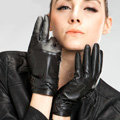 Allfond women winter waterproof cold-proof warm bead genuine goatskin leather gloves M - Black