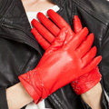 Allfond women winter waterproof cold-proof warm bead genuine goatskin leather gloves M - Red