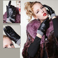 Allfond women winter waterproof cold-proof warm flower wool genuine goatskin leather gloves M - Black