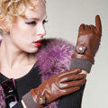 Allfond women winter waterproof cold-proof warm flower wool genuine goatskin leather gloves M - Brown