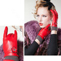 Allfond women winter waterproof cold-proof warm flower wool genuine goatskin leather gloves L - Red