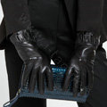 Allfond women winter waterproof cold-proof warm folds genuine goatskin leather gloves M - Black