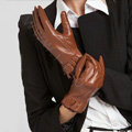 Allfond women winter waterproof cold-proof warm folds genuine goatskin leather gloves M - Brown