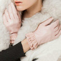 Allfond women winter waterproof cold-proof warm folds genuine goatskin leather gloves M - Pink