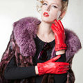 Allfond women winter waterproof cold-proof warm folds genuine goatskin leather gloves M - Red