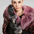 Allfond women winter waterproof cold-proof warm rabbit fur genuine goatskin leather gloves L - Black