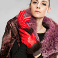 Allfond women winter waterproof cold-proof warm rabbit fur genuine goatskin leather gloves M - Red
