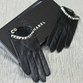 Fashion Women Crystal Genuine Leather Sheepskin Half Palm Short Gloves Size S - Black