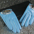 Fashion Women Crystal Genuine Leather Sheepskin Half Palm Short Gloves Size S - Blue
