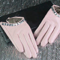 Fashion Women Crystal Genuine Leather Sheepskin Half Palm Short Gloves Size S - Pink