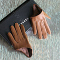 Fashion Women Genuine Leather Sheepskin Half Palm Short Gloves Size S - Brown