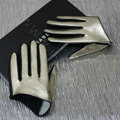 Fashion Women Genuine Leather Sheepskin Half Palm Short Gloves Size S - Gold black