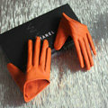 Fashion Women Genuine Leather Sheepskin Half Palm Short Gloves Size S - Orange